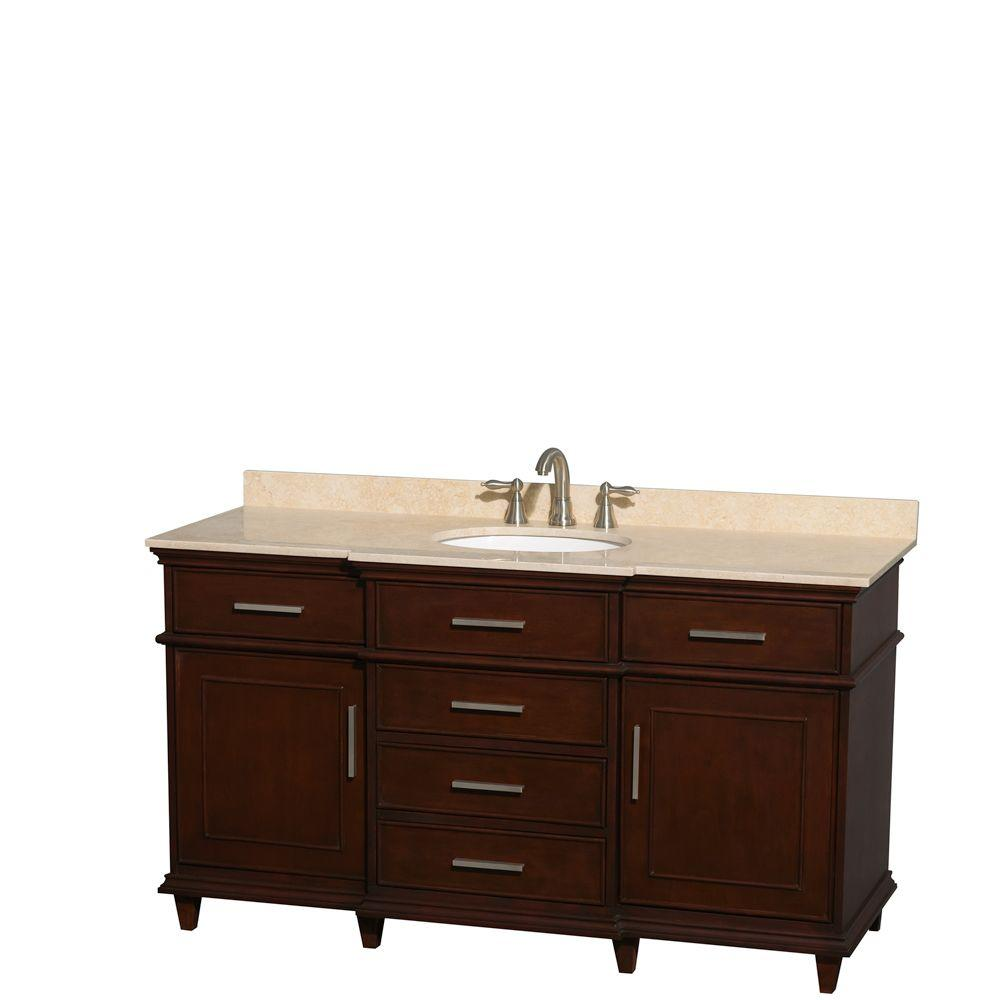 Wyndham Collection Berkeley 60 in. Vanity in Dark Chestnut with Marble Vanity Top in Ivory and Oval Basin