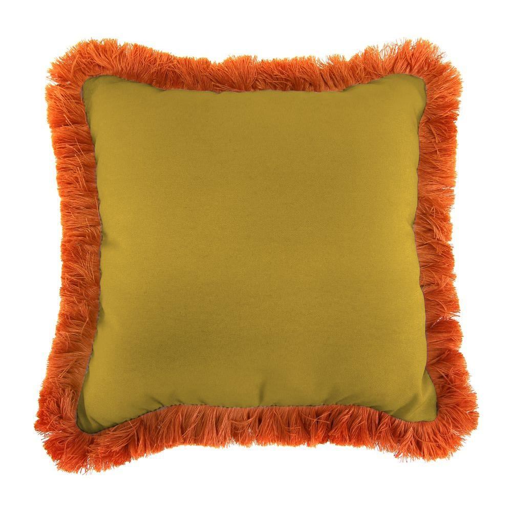 Sunbrella Canvas Maize Square Outdoor Throw Pillow with Tuscan Fringe