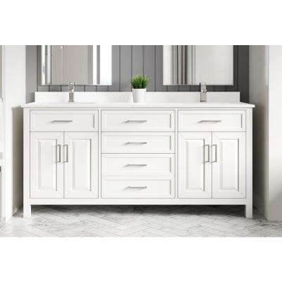 Terrence 72 in. W x 22 in. D Bath Vanity in White ENGRD Stone Vanity Top in White with White Basin Power Bar-Organizer