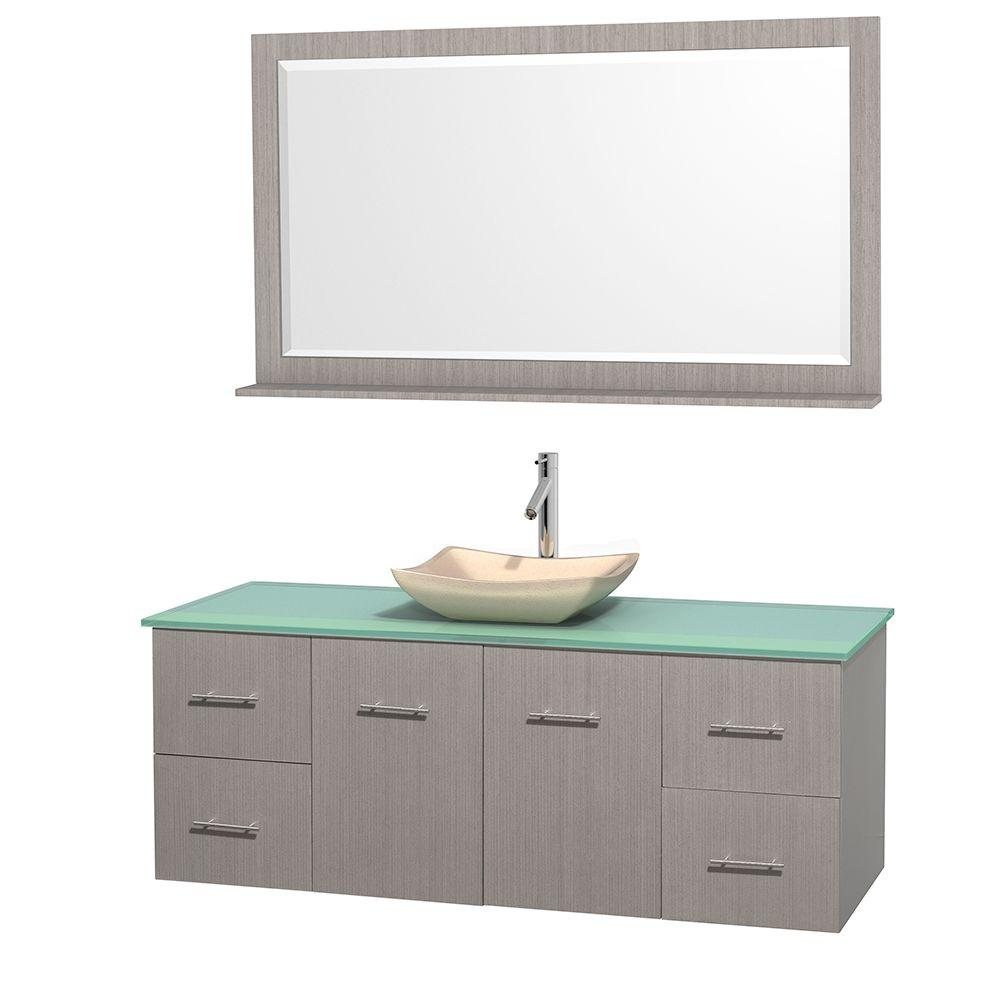 Wyndham Collection Centra 60 in. Vanity in Gray Oak with Glass Vanity Top in Green, Ivory Marble Sink and 58 in. Mirror