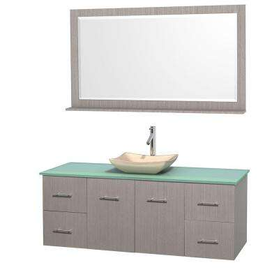 Centra 60 in. Vanity in Gray Oak with Glass Vanity Top in Green, Ivory Marble Sink and 58 in. Mirror