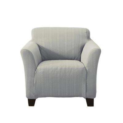 Darla Collection Grey Luxurious Cable Knit Stretch Fit Form Fitting Chair  Slipcover