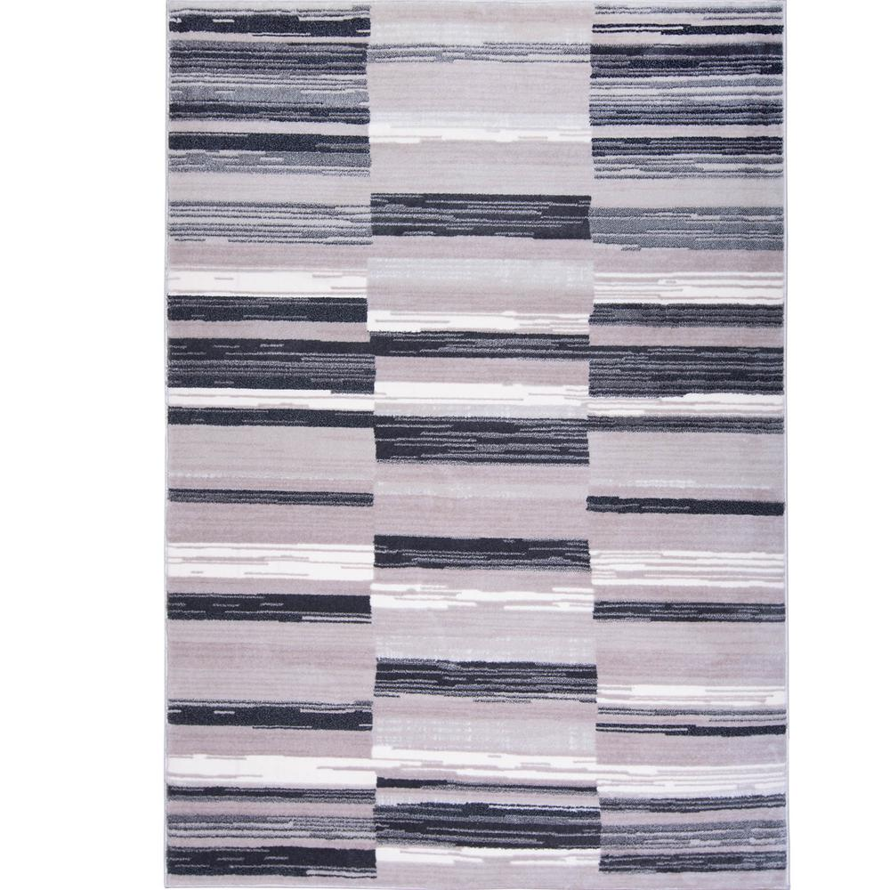 Home Dynamix Bazaar City Stripes Gray 8 ft. x 10 ft. Indo...
