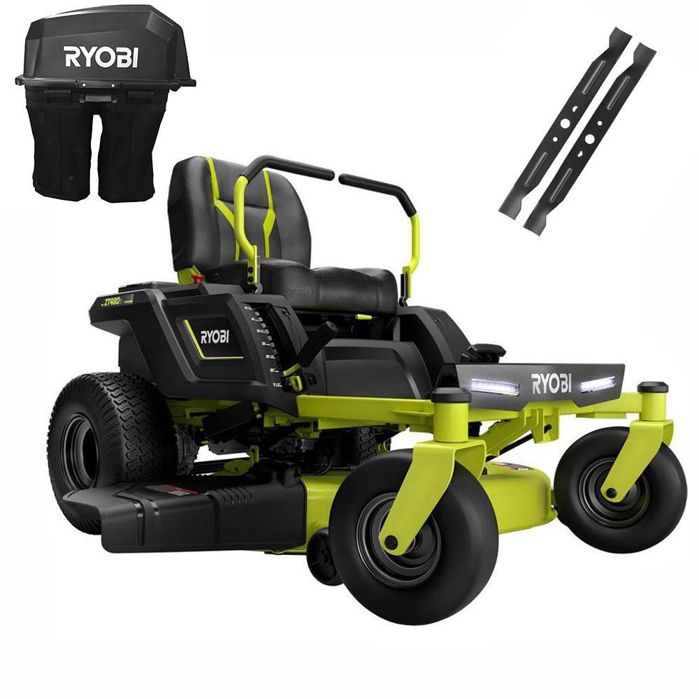 RYOBI 42 in. 75 Ah Battery Electric Riding Zero Turn Mower and Bagging Kit