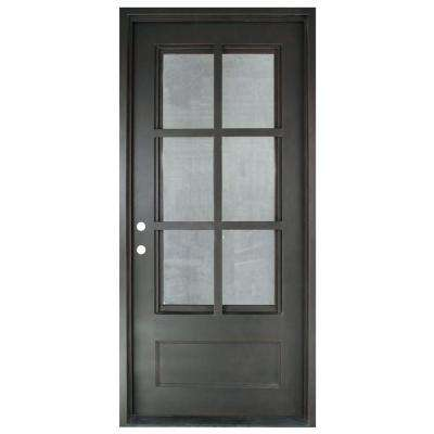 37.5 in. x 81.5 in. Craftsman Classic 3/4 Lite Painted Oil Rubbed Bronze Clear Wrought Iron Prehung Front Door