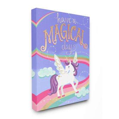 """16 in. x 20 in. """"Purple Unicorn Have A Magical Day"""" by Elizabeth Silver Printed Canvas Wall Art"""