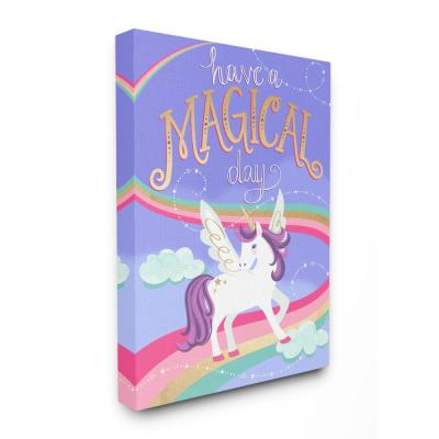 "16 in. x 20 in. ""Purple Unicorn Have A Magical Day"" by Elizabeth Silver Printed Canvas Wall Art"