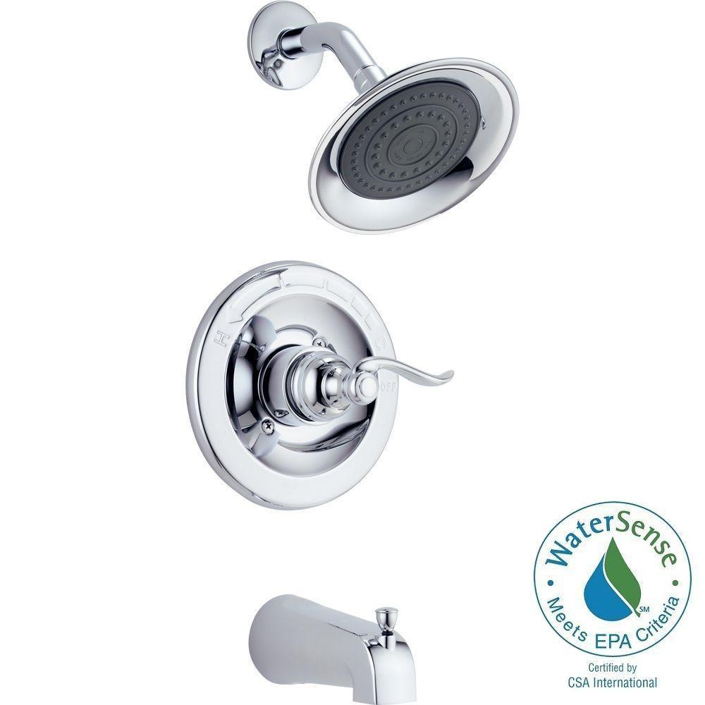 Delta Windemere 1 Handle Tub And Shower Faucet Trim Kit In Chrome Valve Not