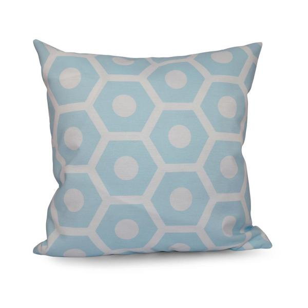 16 in. x 16 in. Honeycomb Geometric Print Pillow in Light