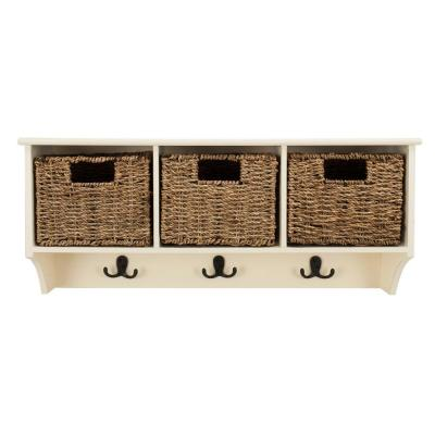 Finley White Coat Rack with Storage