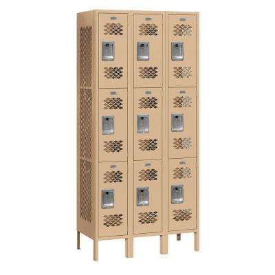 73000 Series 36 in. W x 78 in. H x 12 in. D 9-Tier Vented Metal Locker Unassembled in Tan