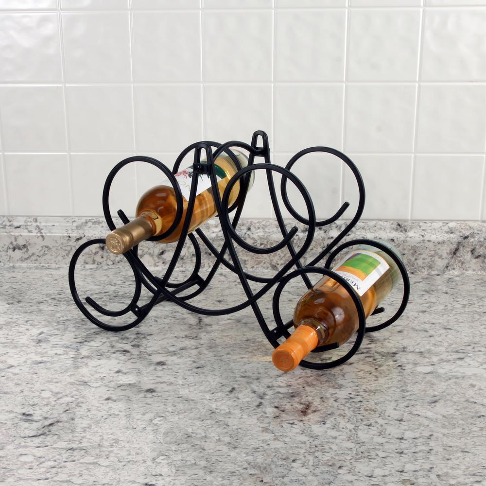 Bordeaux 9.75 in. x 16.5 in. x 7.5 in. Steel Knock Down 5-Bottle Wine Rack in Black
