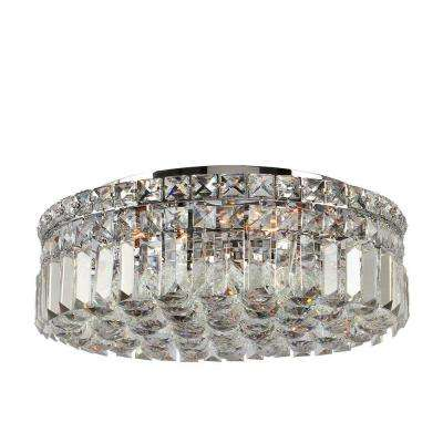 Cascade 5-Light Polished Chrome Flush Mount with Clear Crystal