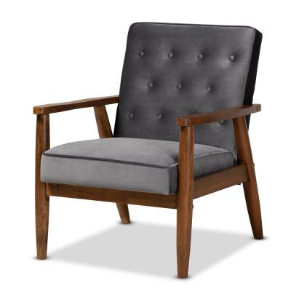 Sorrento Grey Velvet Lounge Chair