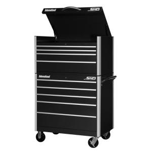 International SHD Series 42 inch 9-Drawer Tool Chest and Cabinet Combo in Black by International