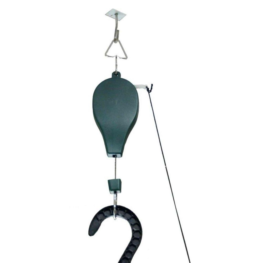 Pulley System for Hanging Plants and Bird Feeders (3-Pack), Green
