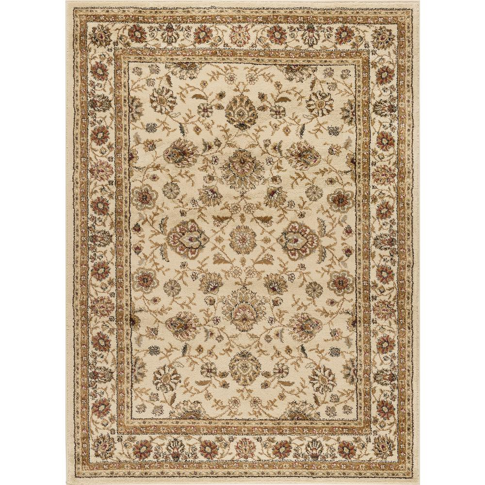 Tayse rugs elegance ivory 5 ft x 7 ft traditional area for Traditional kitchen rugs