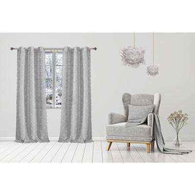 Snowball 38 in. W x 84 in. L Semi-Sheer Window Curtain Panel Pair in Silver (2-Pack)