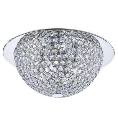 15 in. 3-Light Mirrored Stainless Steel Flushmount with Clear Crystal Accents in Metal Rings