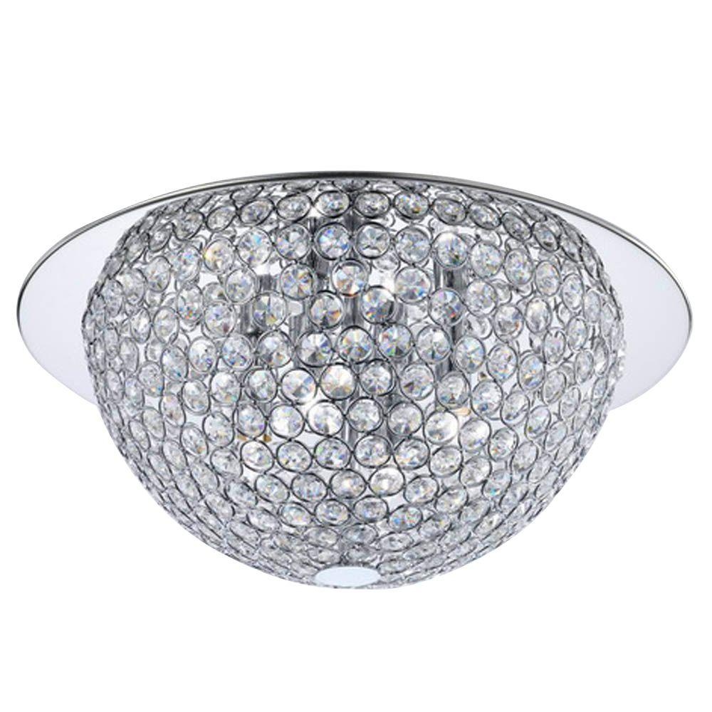 mirrored lighting. 3-Light Mirrored Stainless Steel Flushmount With Clear Crystal Accents In Metal Rings-16818 - The Home Depot Lighting
