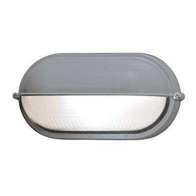 Nauticus 1-Light Satin Outdoor Bulkhead Light with Frosted Glass Shade