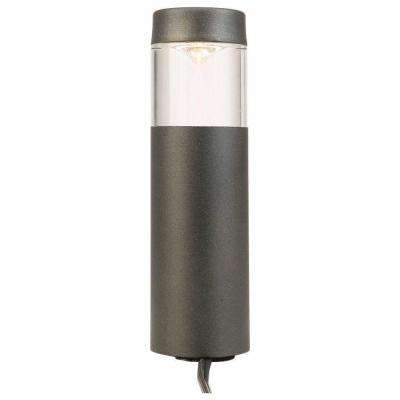 Low-Voltage 10-Watt Equivalent Black Outdoor Integrated LED Round Landscape Path Bollard Light