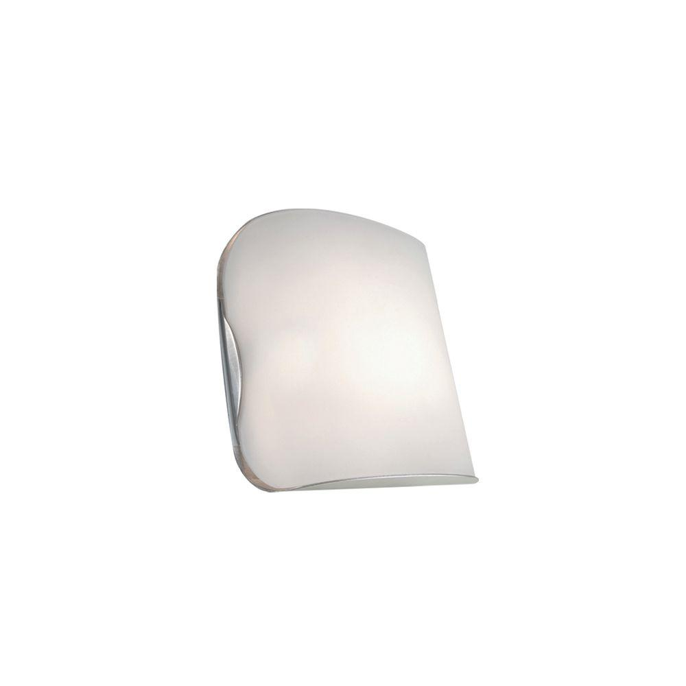 JESCO Lighting 1-Light Satin Nickel Softly Curved Wall Sconce with Frosted Glass