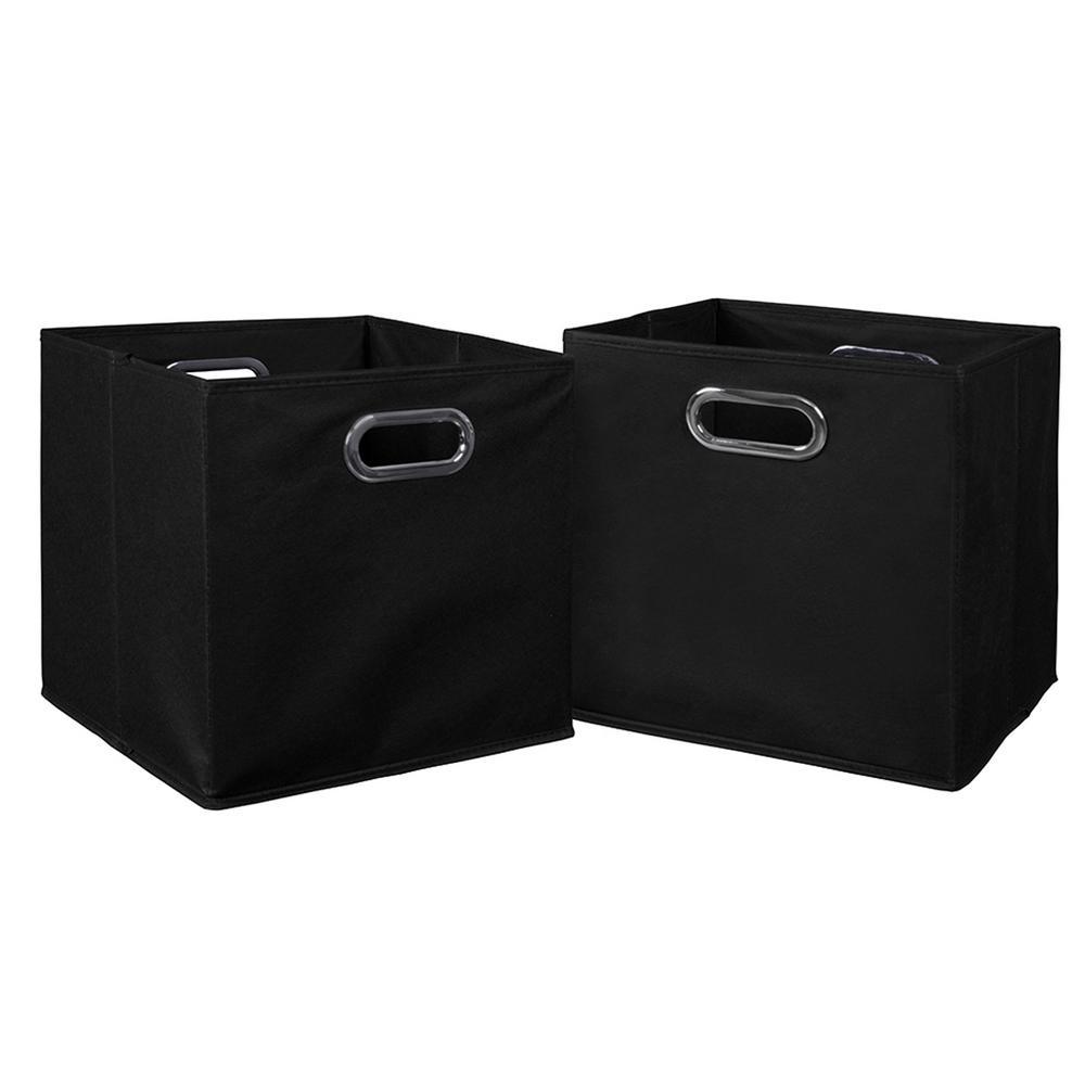 Cubo 12 in. x 12 in. Black Foldable Fabric Bin (2-Pack)
