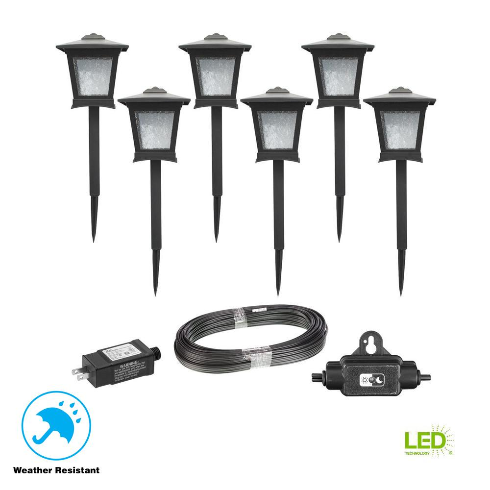 Low Voltage Walkway And Path Lighting Outdoor Landscape Brass On Wiring Lights Black Integrated Led Light 6 Pack Kit