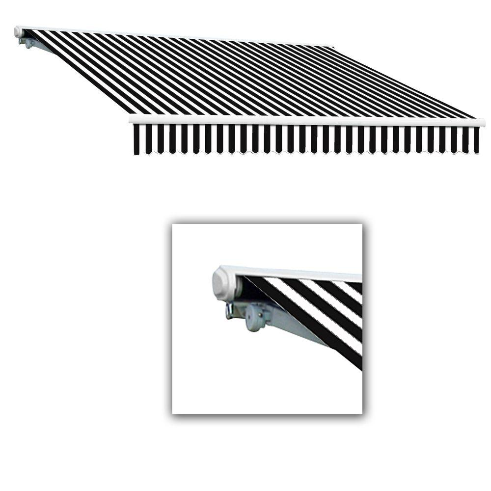 AWNTECH 16 ft. Galveston Semi-Cassette Manual Retractable Awning (120 in. Projection) in Black White
