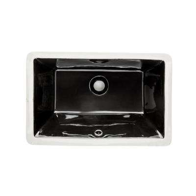 Rectangular Glazed Ceramic Undermount Bathroom Vanity Sink in Black