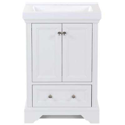 25 in. W x 22 in. D x 36.75 in. H Bath Vanity in White with Cultured Marble Vanity Top in White with White Basin
