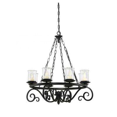 Anthony 8-Light Black Chandelier with Clear Seeded Glass Shade