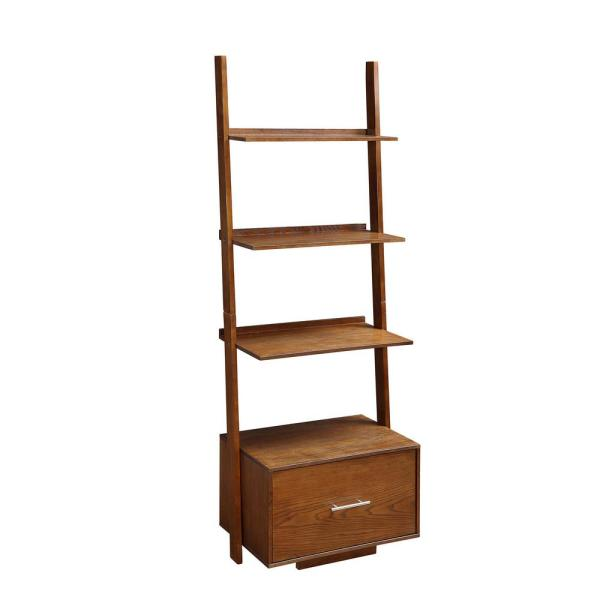 69 in. Dark Walnut Wood 4-shelf Ladder Bookcase with Open Back