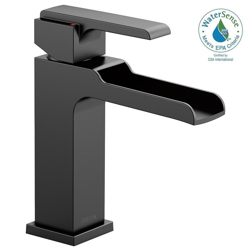 Delta Trinsic Single Hole Single-Handle Bathroom Faucet in Matte ...