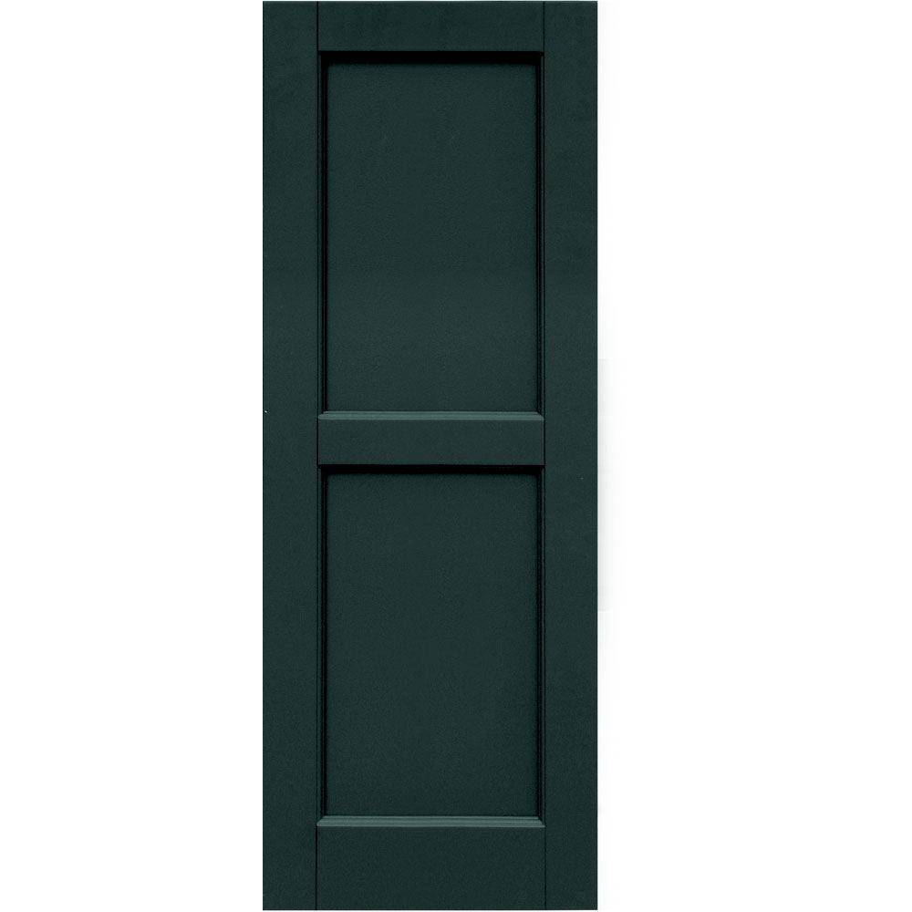 Winworks Wood Composite 15 in. x 41 in. Contemporary Flat Panel Shutters Pair #638 Evergreen