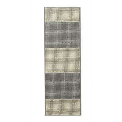 Studio Collection Layered Design Grey 2 ft. x 5 ft. Non-Skid Runner Rug