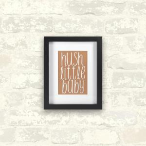 Linden Ave 8 inch x 10 inch Hush Little Baby-Rose Gold 1-Piece Framed Artwork with Mat and Metallic Backer by Linden Ave