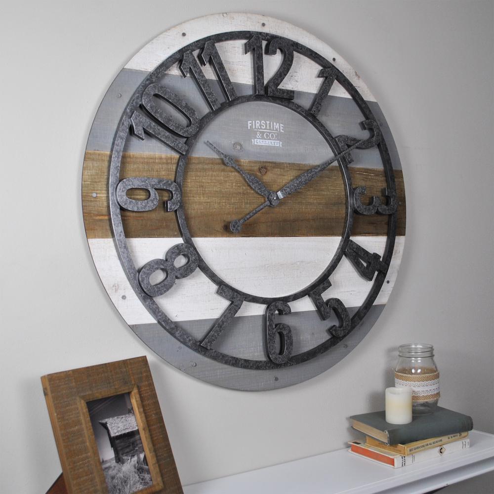 27 in. Shabby Planks Wall Clock