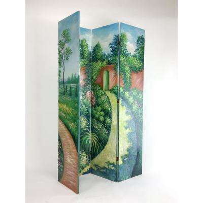 Multi-Colored Hand Painted Double Side Screen