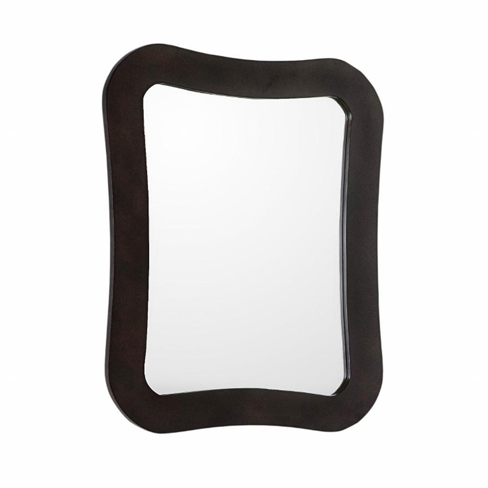 Teramo 28 in. x 22 in. Single Framed Wall Mirror in Walnut