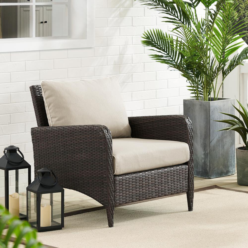Kiawah Wicker Outdoor Lounge Chair with Sand Cushions