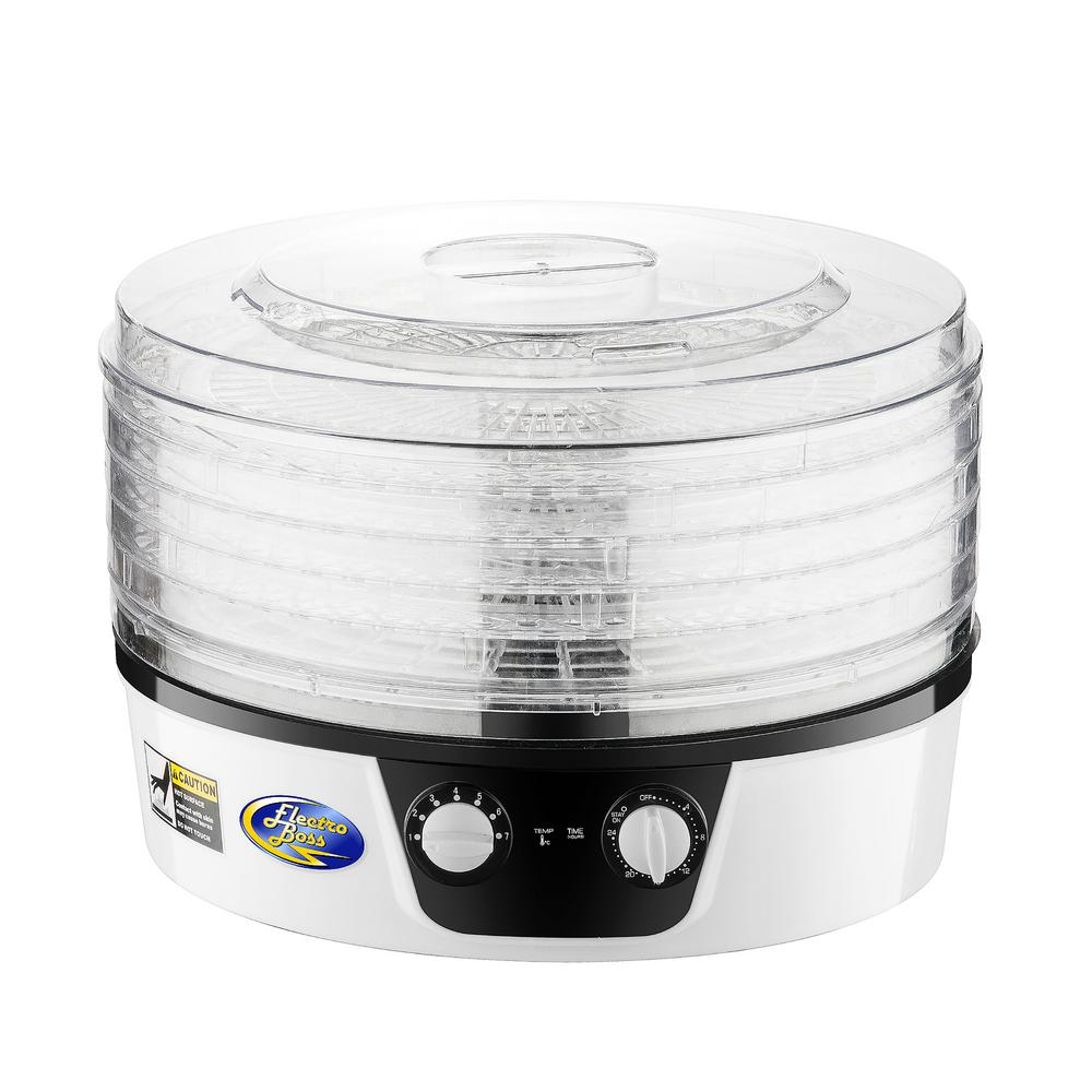 Electro Boss 5-Tray White Food Dehydrator with Adjustable Thermostat