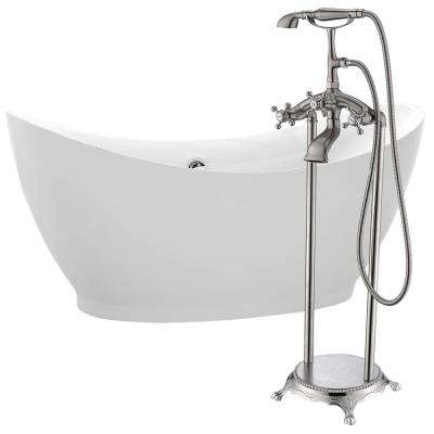 Reginald 68 in. Acrylic Flatbottom Non-Whirlpool Bathtub in White with Tugela Faucet in Brushed Nickel