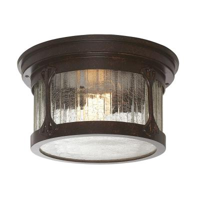 Canyon Lake 2-Light Chestnut Outdoor Flushmount