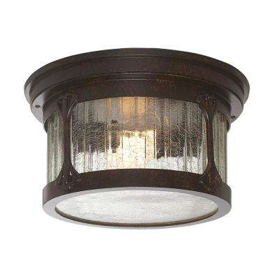 Mill Creek 2-Light Chestnut Outdoor Flushmount