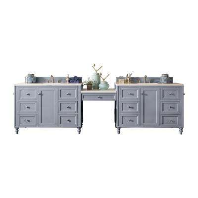 Copper Cove Encore 122 in. W Double Bath Vanity in Silver Gray with Marble Vanity Top in Carrara White with White Basin