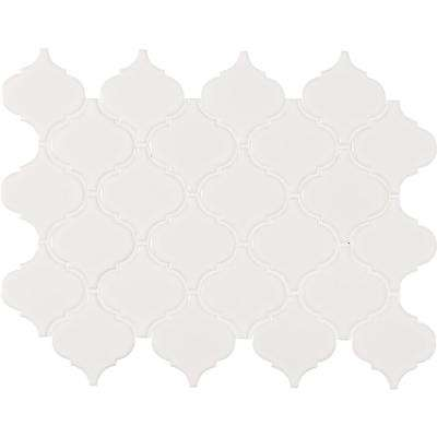 Retro Bianco Arabesque 10.63 in. x 8.84 in. x 6mm Glazed Porcelain Mesh-Mounted Mosaic Tile (10.95 sq. ft. / case)