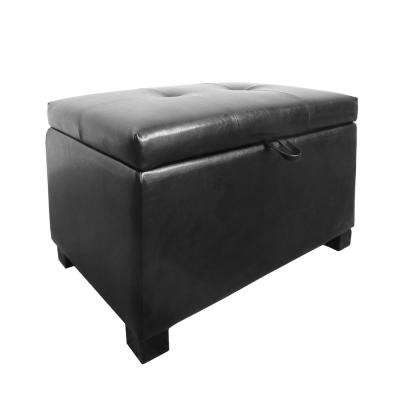 Antonio Black Bonded Leather Storage Ottoman