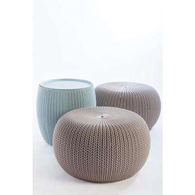 Knit Cozy Urban Dune and Misty Blue 3-Piece All-Weather Patio Conversation Set